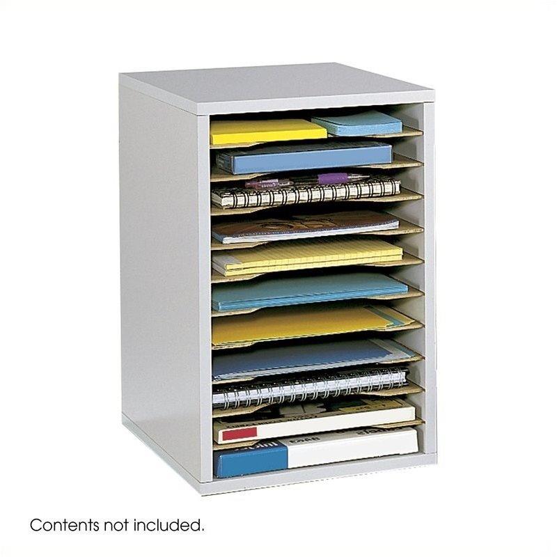 Safco Grey 11 Compartment Vertical Desk Top Sorter Desktop