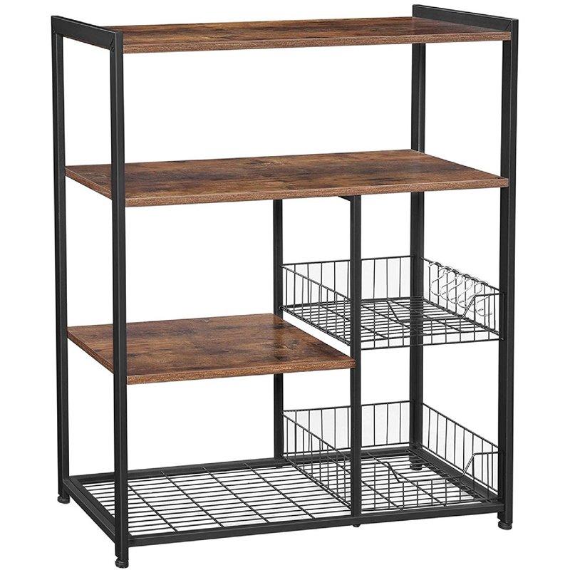 benjara 13 8 contemporary wood and metal bakers rack in brown and black