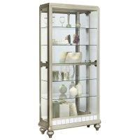 Pulaski Mirrored Metallic Side Entry Curio Cabinet in ...