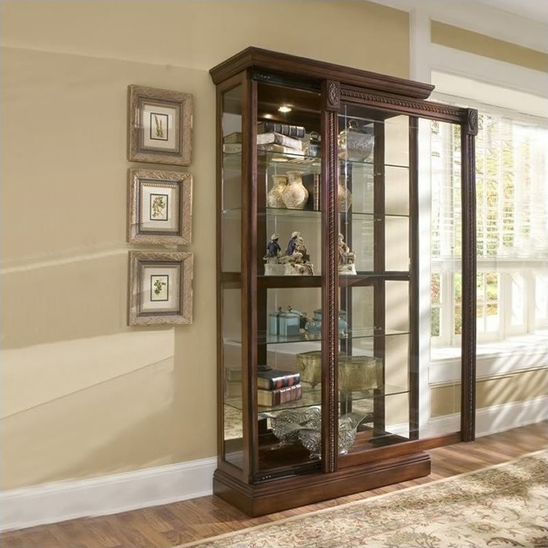 Pulaski Medallion Cherry Curio Cabinet  eBay