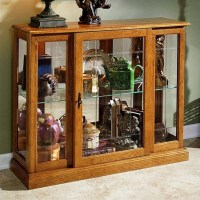 Pulaski Golden Oak III Console Curio Display Cabinet - 6715