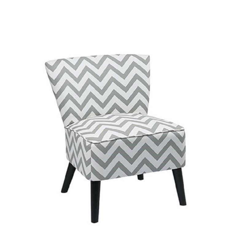 upholstered slipper chair nightstand in gray geometric pattern apl z13