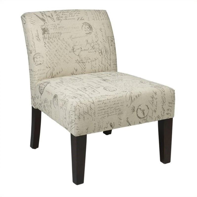 Fabric Slipper Chair in Script Ivory  LAG51S13
