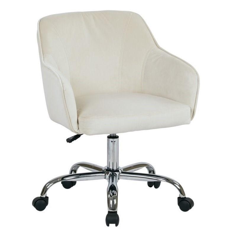 Velvet Fabric Office Chair in Oyster