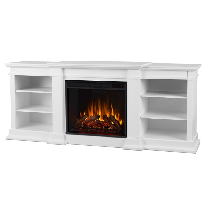 Real Flame Fresno Electric Fireplace TV Stand in White  G1200EW