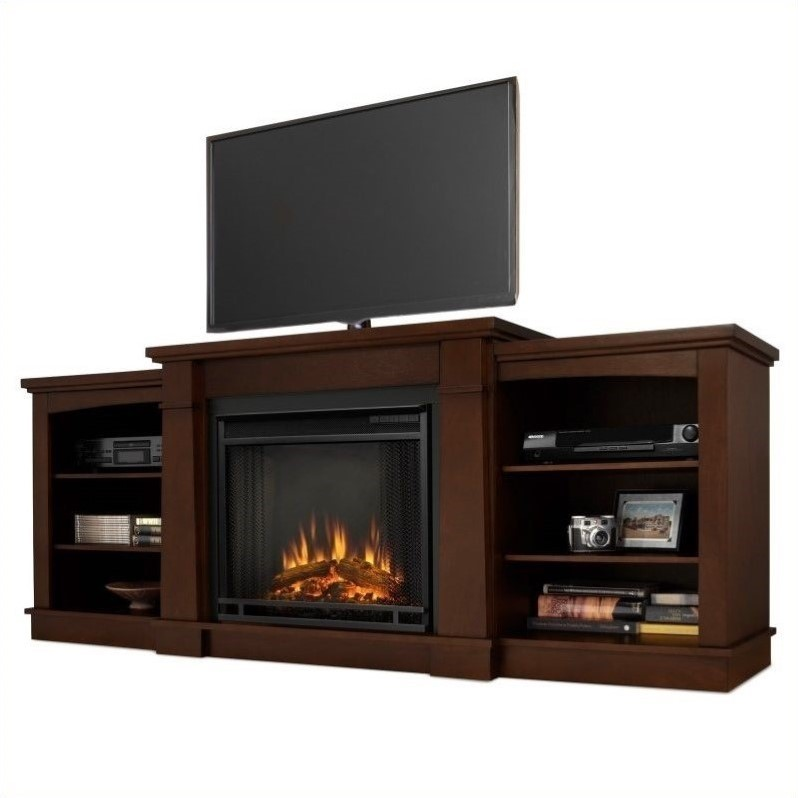 Real Flame Hawthorne Electric Fireplace TV Stand In Dark