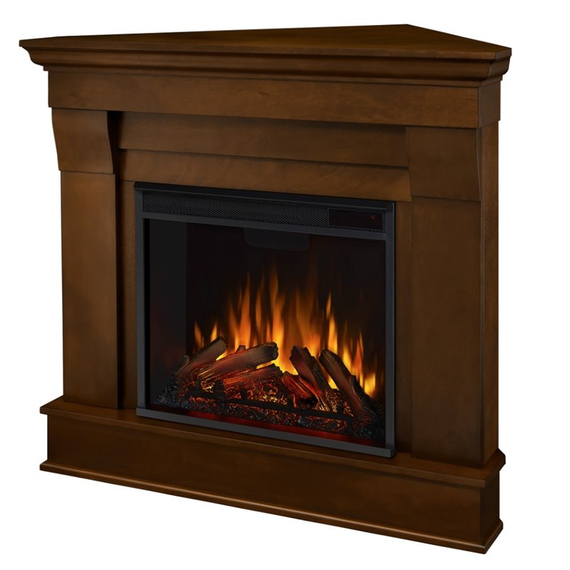 Corner Electric Fireplace With Mantel Real Flame Chateau Electric Corner Fireplace In Espresso