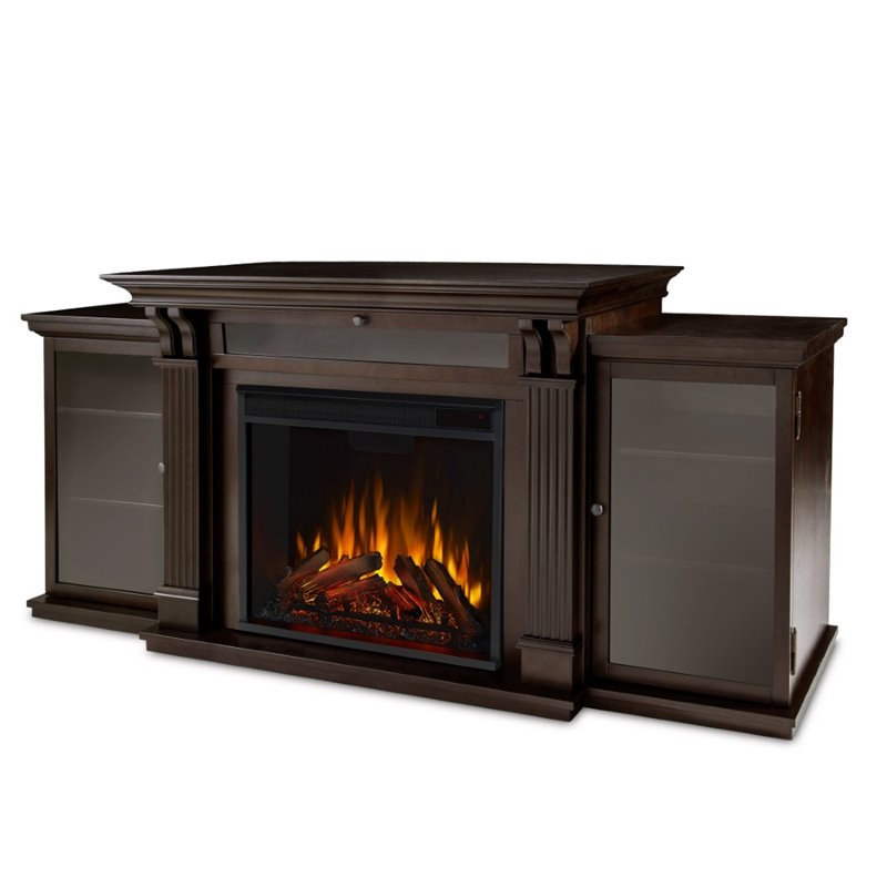 Real Flame Ashley TV Stand with Electric Fireplace in Dark Walnut  7720EDW