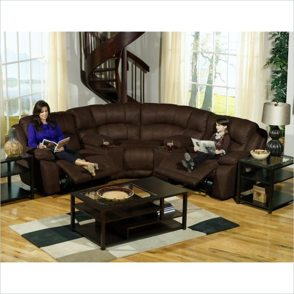 Novo Home 2100lf2pc Madera Left Facing 2 Piece Dual Reclining Chaise Sectional In Chestnut With