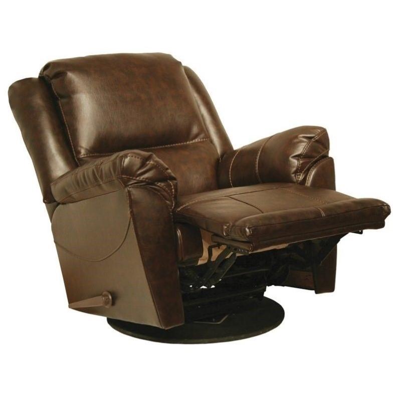 Catnapper Maverick Leather Swivel Glider Recliner Chair in