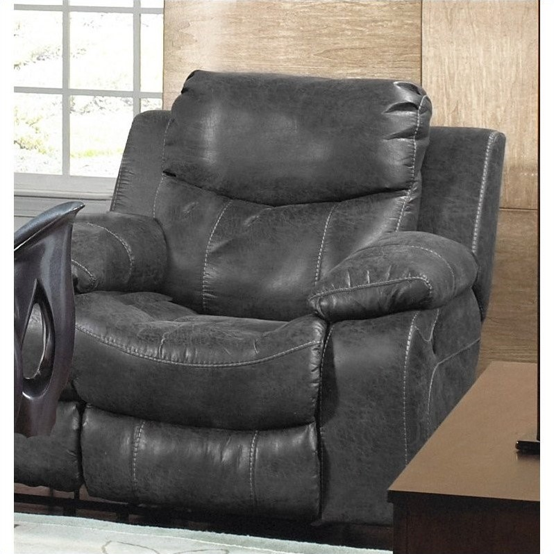 catnapper sofas and loveseats best brand leather sectional catalina glider recliner in steel ...