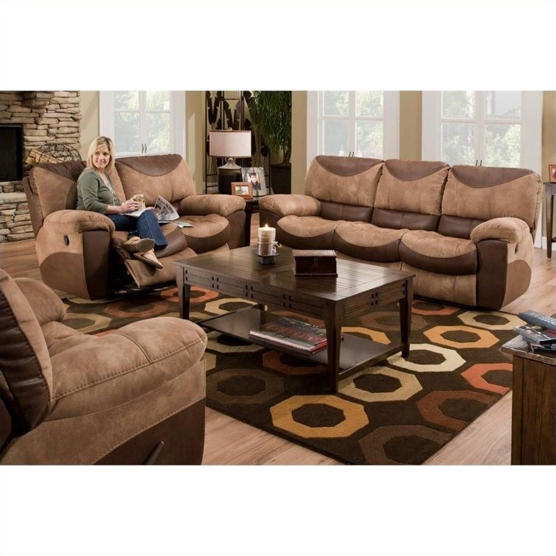 Catnapper Portman Reclining 3 Piece Sofa Set in Saddle and Chocolate  196Portman3PKG