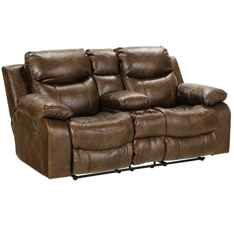 Catnapper Catalina Leather Reclining Console Loveseat In