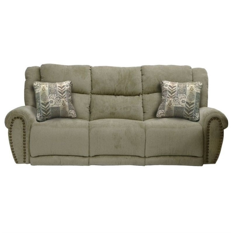 voyager lay flat triple reclining sofa leather small catnapper mercury