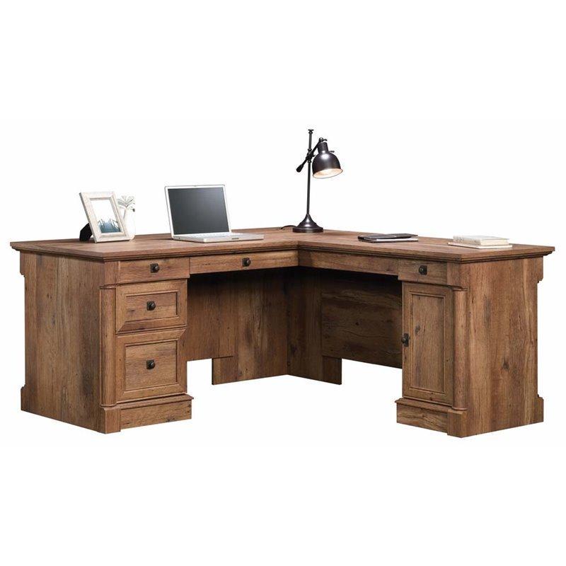 Sauder Palladia L Shaped Computer Desk in Vintage Oak  420606