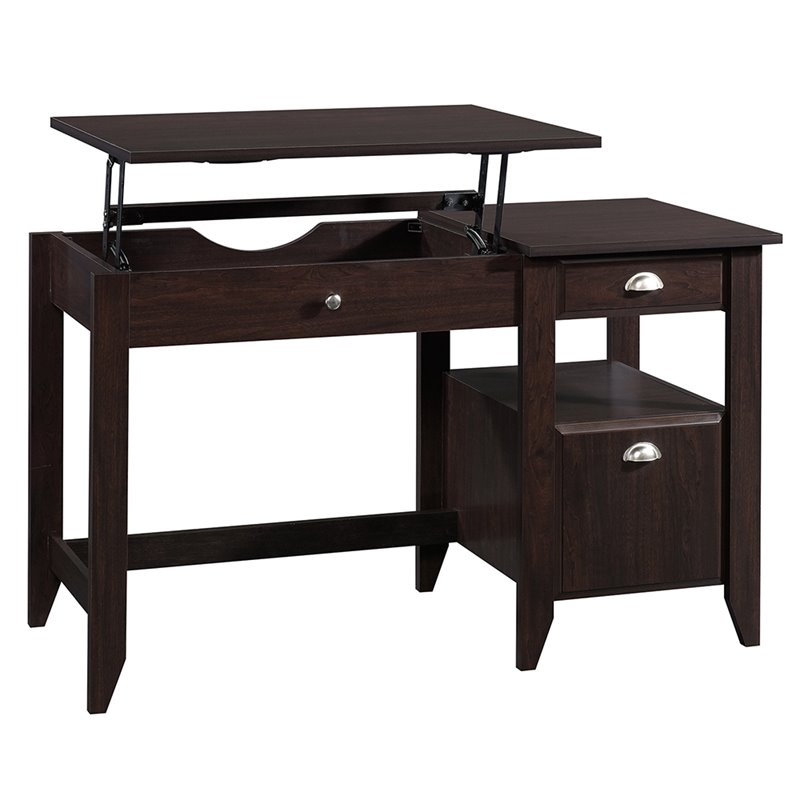 Sauder Shoal Creek Sit and Stand Lift Top Desk in Jamocha