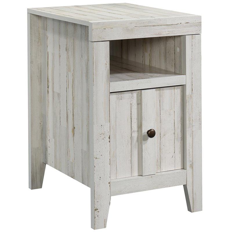 sauder dakota pass engineered wood end table in white plank