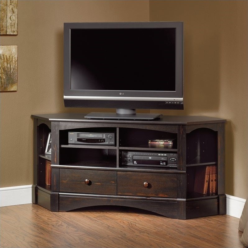 Corner TV Stand in Antiqued Black  402902