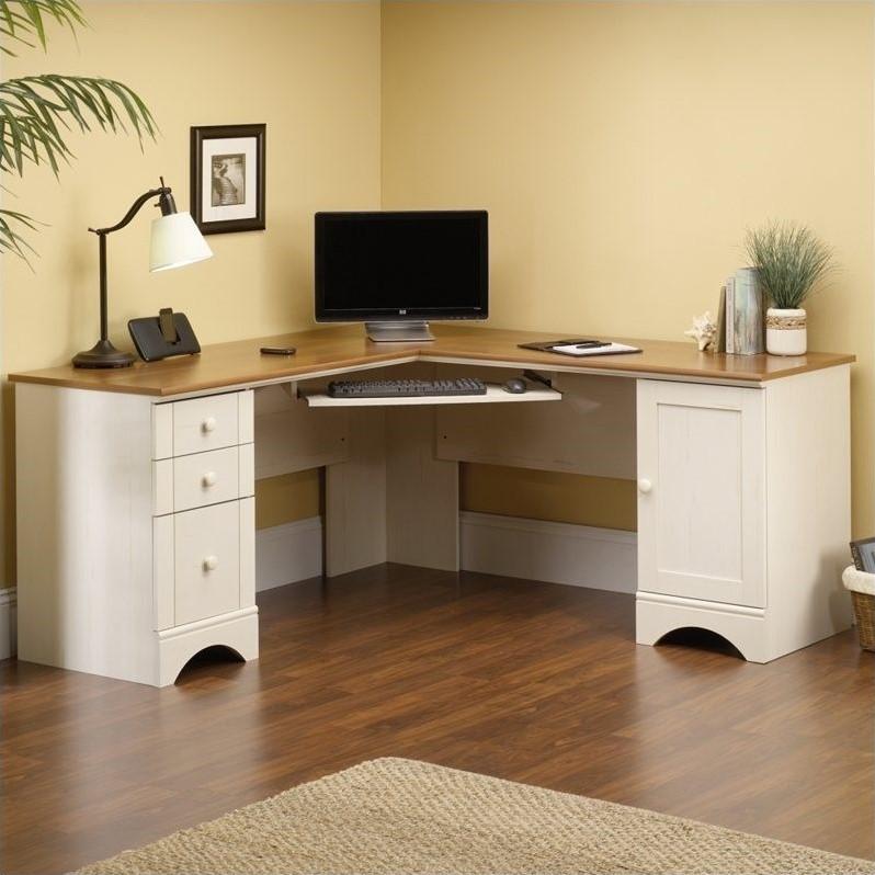 Corner Computer Desk in Antiqued White  403793