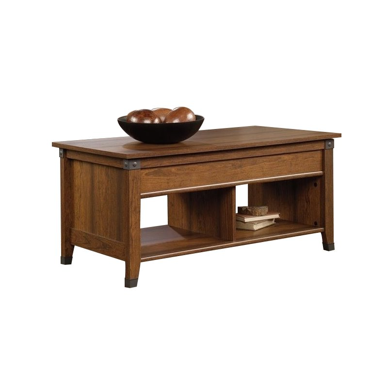 sauder carson forge lift top wood and metal coffee table in washington cherry