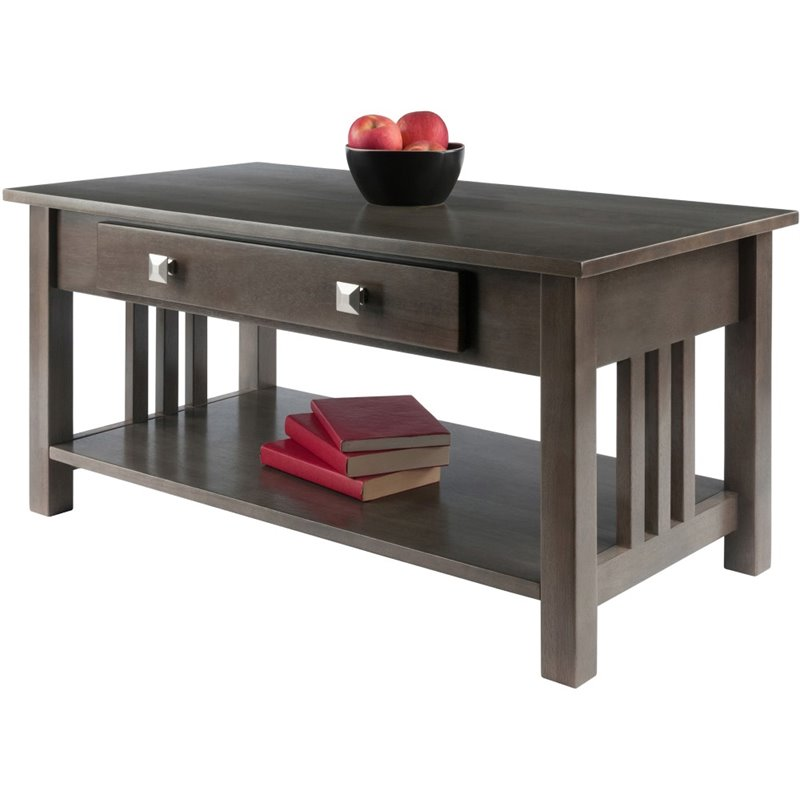 winsome stafford transitional solid wood storage coffee table in oyster gray
