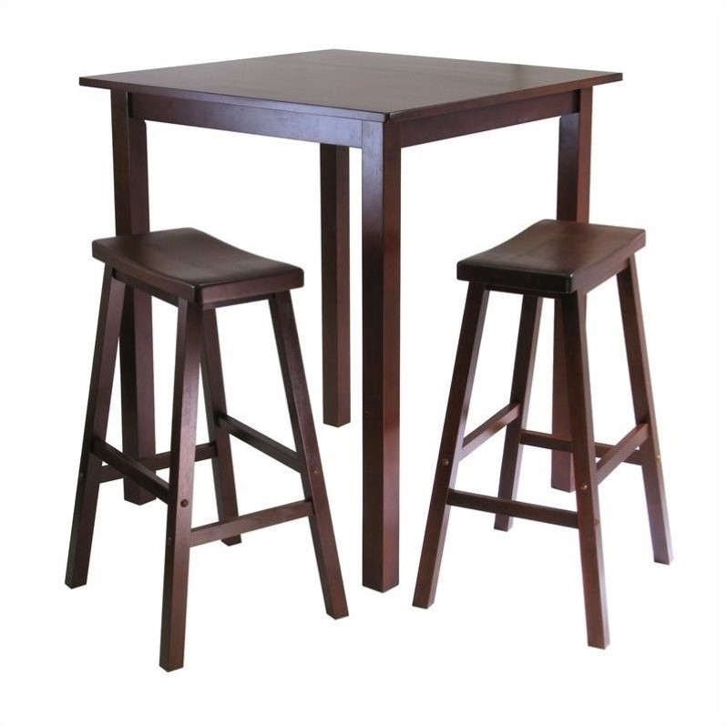 3 piece table and chair set what is the best zero gravity square pub in antique walnut 94349