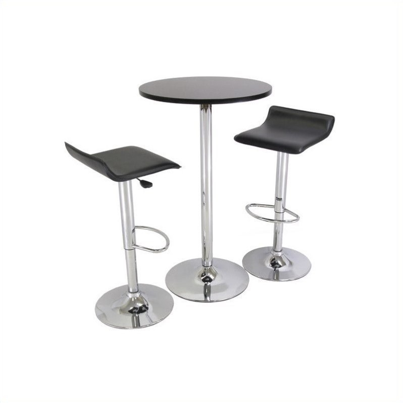 pub table and chairs 3 piece set 2 ivory lycra chair covers backless in black chrome finish 93324