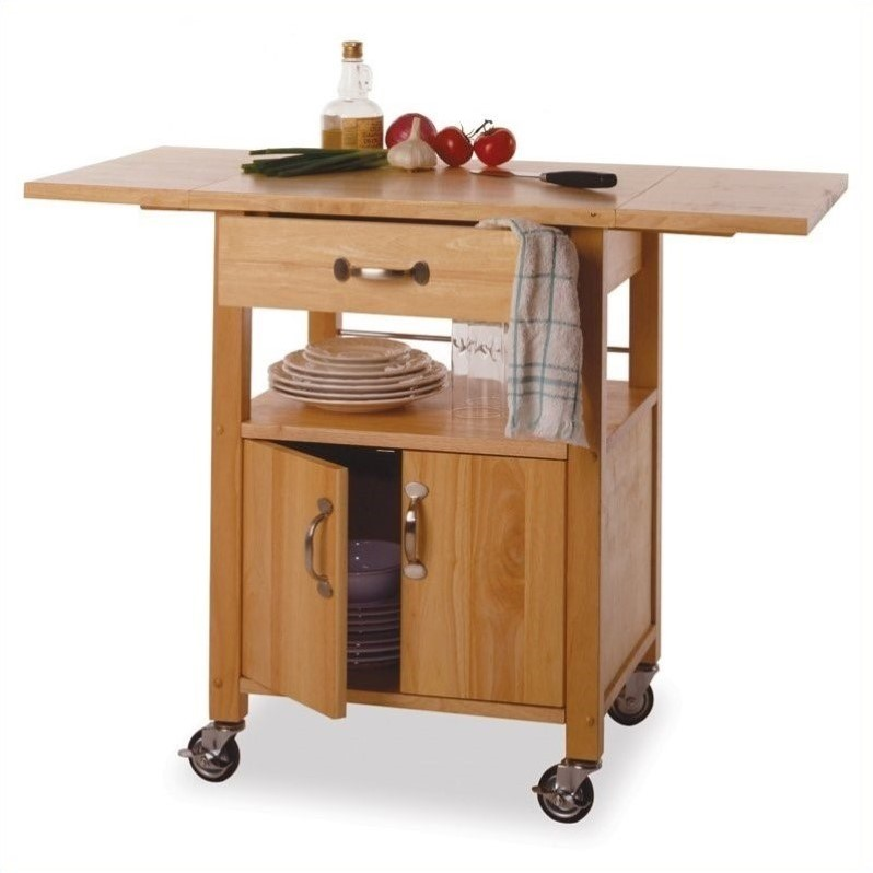 Winsome Butcher Block wDrop Leaf Natural Finish Kitchen