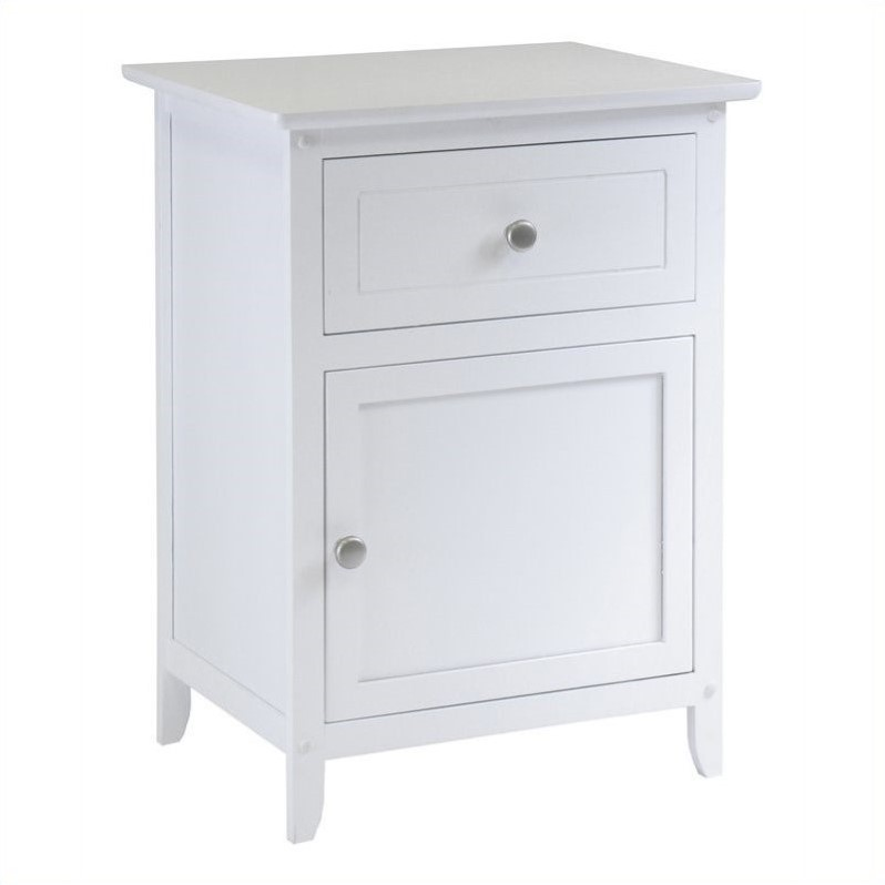 Nightstand with Drawer in White