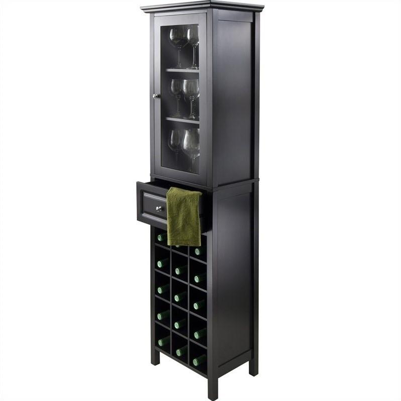 Winsome Burgundy Wine Cabinet in Black  eBay