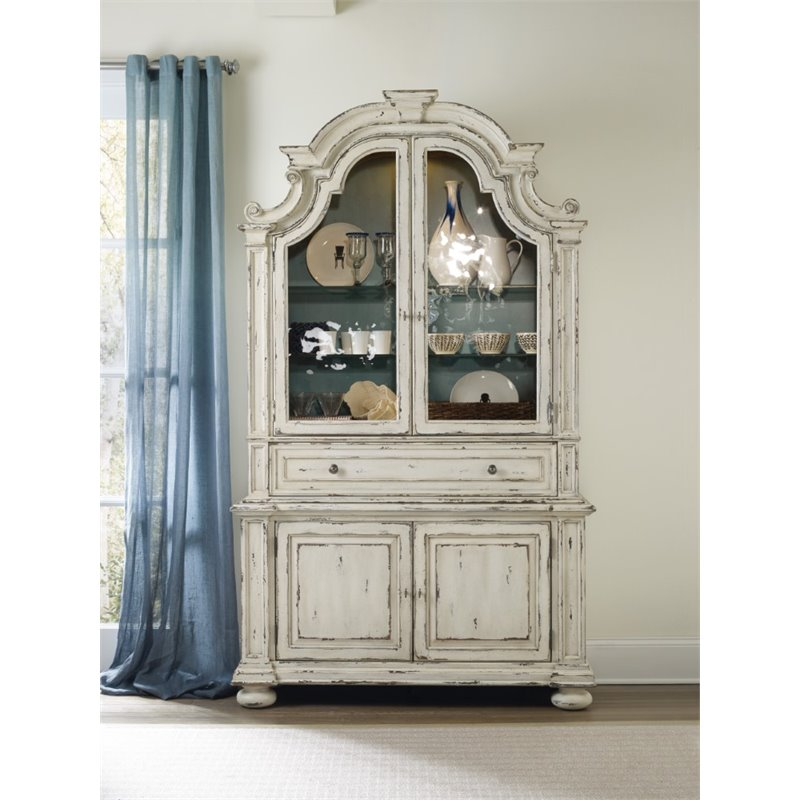 Hooker Furniture Sanctuary China Cabinet in Chalky White