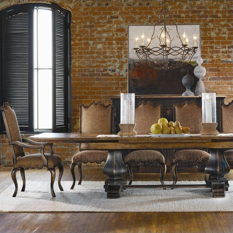 cushions for dining room chairs stainless steel chair outdoor hooker furniture sanctuary refectory table in ebony and drift - 3005-75207
