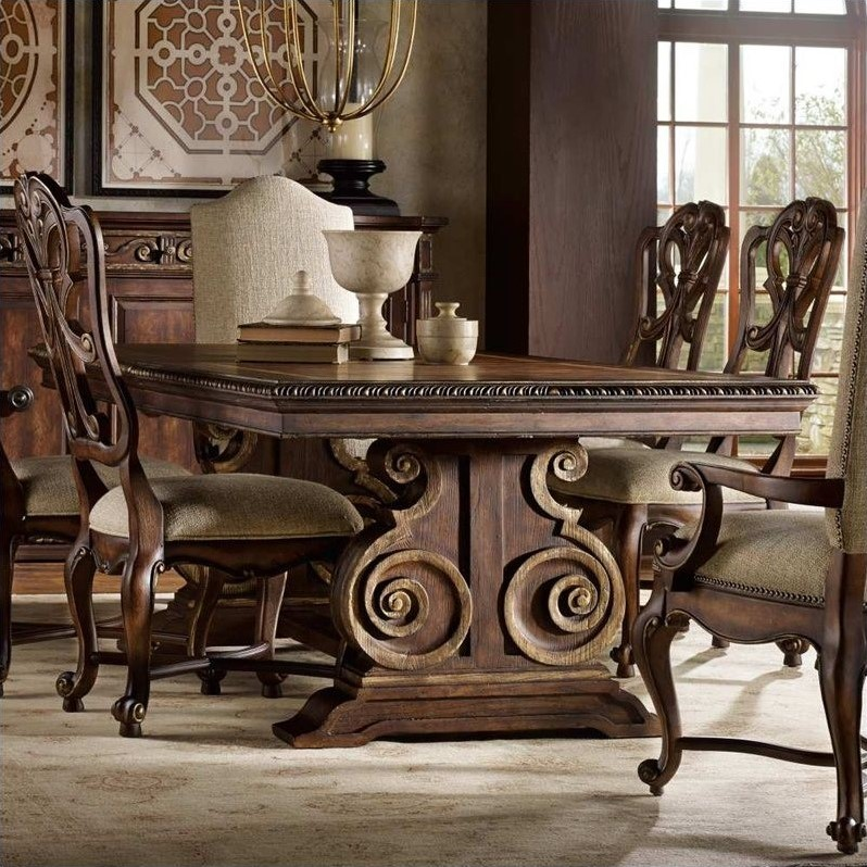 rectangle kitchen table and chairs marble counter hooker furniture adagio rectangular pedestal dining ...