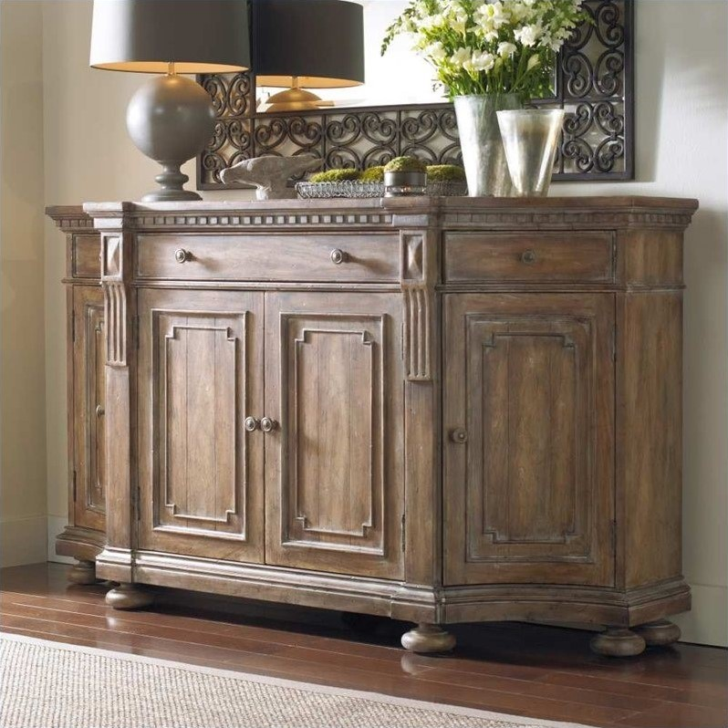 Hooker Furniture Sorella Shaped Credenza in Warm Brown