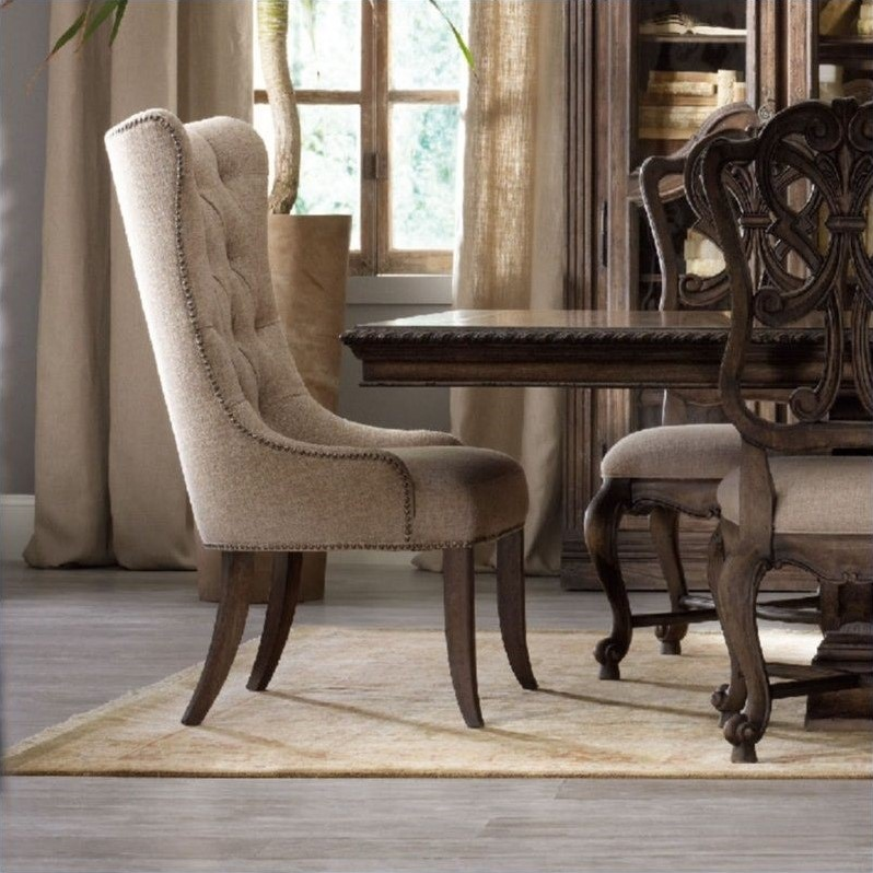 tufted dining room chairs animal print accent chair hooker furniture rhapsody in rustic walnut 5070 75511