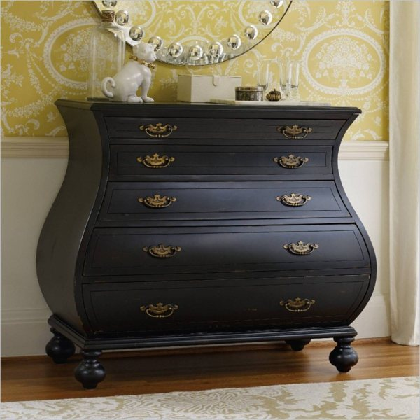 5-Drawer Bombe Accent Chest in Black - 5219-85001