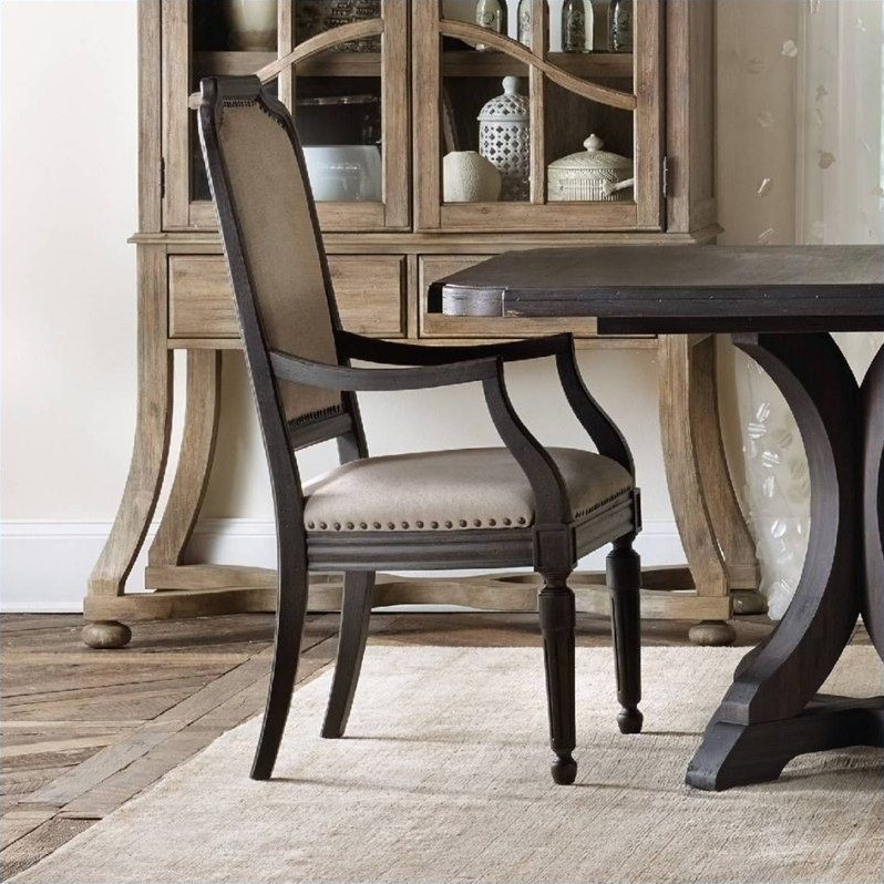 upholstered arm dining chair royal blue slipper hooker furniture corsica in dark wood 5280 75401