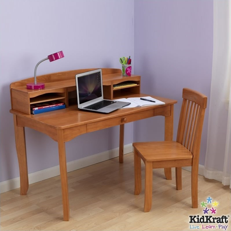 KidKraft Avalon Kids Desk with Hutch and Chair in Honey