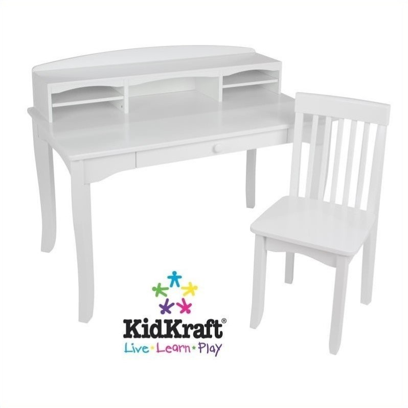 kidkraft avalon chair oversized recliner kids desk with hutch and in white 26705