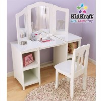 KidKraft Deluxe Wood Makeup Vanity Table with Chair and ...