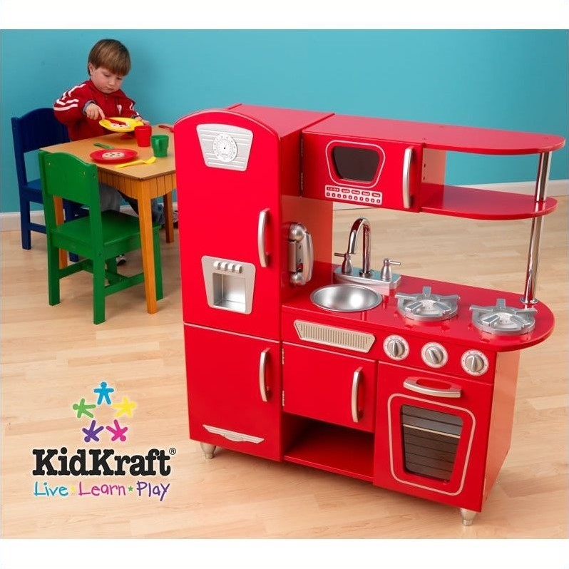 toy kitchen sets how to build your own island kidkraft vintage play in red 53173