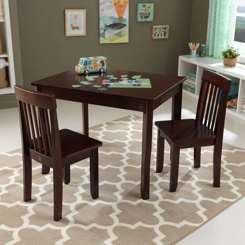 kidkraft avalon chair best posture uk table ii and 2 chairs set in espresso 26639