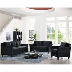 3 Piece Living Room Table Set Shelving Ideas Sofa Sets Cymax Stores Lifestyle Solutions Hartford Microfiber In Black