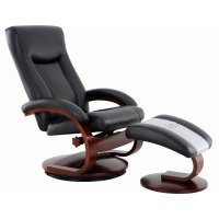 Mac Motion Oslo Swivel Recliner with Ottoman in Black and ...