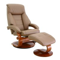 Mac Motion Oslo Leather Swivel Recliner with Ottoman in ...