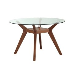 Glass Top Kitchen Table Cherry Cabinets Coaster Paxton Round Dining In Nutmeg 122180