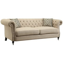 Tufted Button Sofa Balkarp Bed Vissle Gray Reviews Coaster Trivellato In Oatmeal 505821