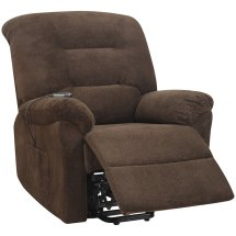 Coaster Power Lift Upholstered Recliner In Chocolate - 600397