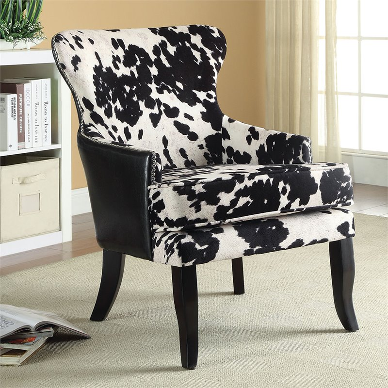 black and white cowhide chair isokinetic ball coaster print accent in 902169