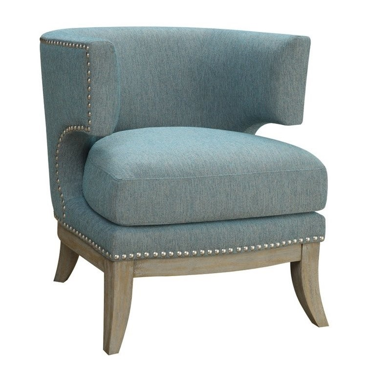 accent chair blue upholster a coaster barrel back upholstered in 902558